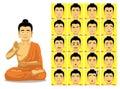 Buddha Cartoon Emotion faces Vector Illustration