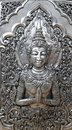Buddha details silver temple chiang mai a photograph showing the beautiful intricate of a image made by traditional smith Stock Images
