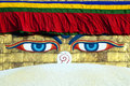 Buddha eyes on Bodhnath stupa in Kathmandu Stock Photos