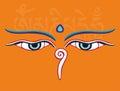 Buddha eyes or Wisdom eyes - holy religious symbol Royalty Free Stock Photo