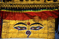Buddha eyes or wisdom eyes at swayambhunath temple or monkey temple on virtually every stupa buddhist shrine in nepal there are Stock Photo