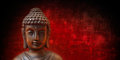 Buddha face on red and black panorama Stock Images