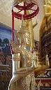 Buddha favourite disciple sculpture in white chapel dusciple image decoration Stock Photos