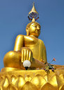 Buddha gold large the golden the golden beautiful lanna art styles of northern thailand unique tall and big in chien mai and a Stock Images