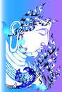 Buddha and head line thai creative graphic buddhism decorated with shades of blue eastern beauty Stock Images