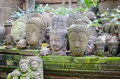 Buddha heads ancient in the garden Stock Photo