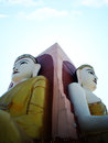 Of buddha his direction points in myanmar temple buddhas on sunshine day Stock Photos