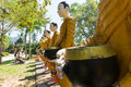 Buddha and his  disciple statue in the forest Royalty Free Stock Photo
