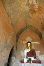 A buddha image with a crumbling ceiling inside sulamani temple in bagan myanmar Royalty Free Stock Photos
