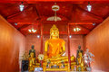 Buddha image with his discuple statues in public Buddhism church Royalty Free Stock Photo