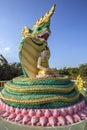 Buddha image protected naga mythical serpent like creature near shwe tha lyaung reclining buddha town bago near yangon myanmar Royalty Free Stock Photos