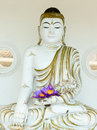 Buddha image statue with fresh flowers in hands flue star water lily or star lotus Royalty Free Stock Photos