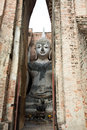 Buddha image at wat srichum in sukhothai historical park lord was respectfully engaged placed an ancient temple called temple the Royalty Free Stock Images