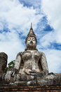 Buddha image at wat trapang ngoen in sukhothai historical park lord was respectfully engaged placed an ancient temple called Royalty Free Stock Photo