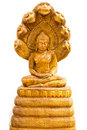 Buddha image with wooden on white Royalty Free Stock Photography
