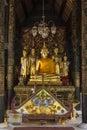 Buddha images dark interior wat phra lampang luang buddhist temple lampang near chiang mai northern thailand Royalty Free Stock Photography