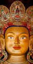 Buddha maitreya statue at buddhist monastery big temple india ladakh thiksey gompa Stock Photo