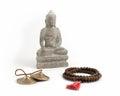 Buddha, Prayer Beads and Meditation Bells. Royalty Free Stock Photo