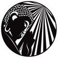 Buddha Raised Hand with Light Rays Circle Black and White vector