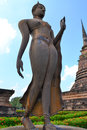 Buddha  on ruins temple in Sukhothai Royalty Free Stock Photos
