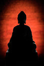 Buddha silhouette on red background Royalty Free Stock Image