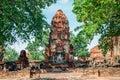 Buddha statue ancient Ruins in Wat Maha That, Ayutthaya, Thailand Royalty Free Stock Photo