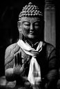 Buddha statue in black and white Royalty Free Stock Photo
