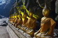Buddha statue in a cave at Khao Luang temple Royalty Free Stock Photos