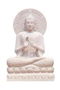 Buddha statue close up isolated against white Royalty Free Stock Photo