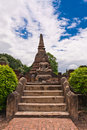 Buddha statue in front of pagoda in sukhothai Stock Photo