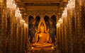 Buddha Statue Gold and Church Pillar Royalty Free Stock Photo