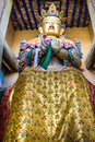 Buddha statue with golden fleece leh ladakh india big in the buddhist temple Royalty Free Stock Image