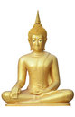 Buddha statue golden isolated on a white background Royalty Free Stock Photos