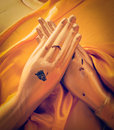 Buddha statue hands in  Vajrapradama Mudra Royalty Free Stock Photo