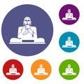 Buddha statue icons set