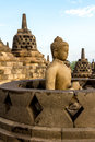 Buddha statue inside stupa of Borobudur temple Stock Photos