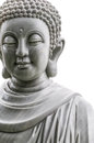 Buddha statue isolated on white background close up view of marble head and shoulders of religious stone sculpture art and culture Royalty Free Stock Photography