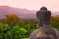 Buddha statue in the morning at borobudur temple yogyakarta central java indonesia Royalty Free Stock Photography