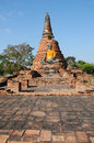 Buddha statue with pagoda background ruins ayutthaya historical park thailand Royalty Free Stock Photo
