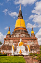 Buddha statue and ruin pagoda in park in Ayutthaya Stock Photo
