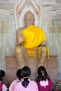 Buddha statue at sarnath is the deer park where gautama first taught the dharma and where the buddhist sangha came into existence Royalty Free Stock Photos