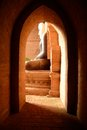 Buddha statue sculpture of a seated inside one of thousands temples in acient bagan myanmar Royalty Free Stock Photography