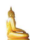 Buddha statue a side view of golden in meditation posture Stock Image