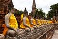 Buddha statue in wat yai chai mongkol public temple in ayuttaya of thailand Royalty Free Stock Image