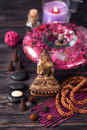 Buddha statue, zen stones and incense. concept of meditation, Spa and Zen Royalty Free Stock Photo