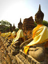 Buddha statues in ancient temple ruin structure ayutthaya thailand Royalty Free Stock Photos