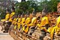 Buddha statues at the temple of Wat Yai Chai Mongk Stock Photos