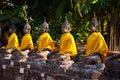 Buddha statues at temple Wat Yai Chai Mongkol Stock Photo