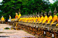 Buddha statues in the temple of wat yai chai mongkol in ayutthay ayutthaya near bangkok thailand Stock Image
