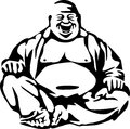 Buddha stylized laughing black and white illustration Stock Image